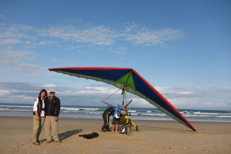 Gina and Chris delighted with their microlight flight in search for the Sardine Run action off the East coast of South Africa.
