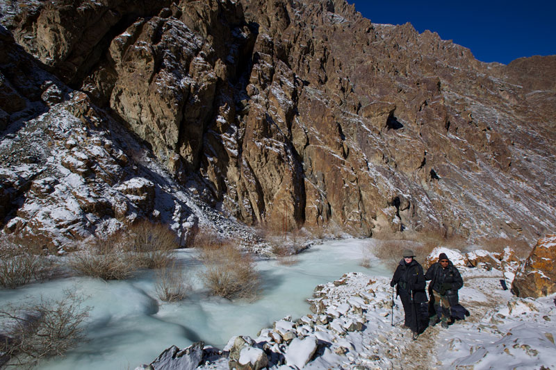 Catherine trekking through the icy valleys of Hermis National Park in search of Snow Leopards.