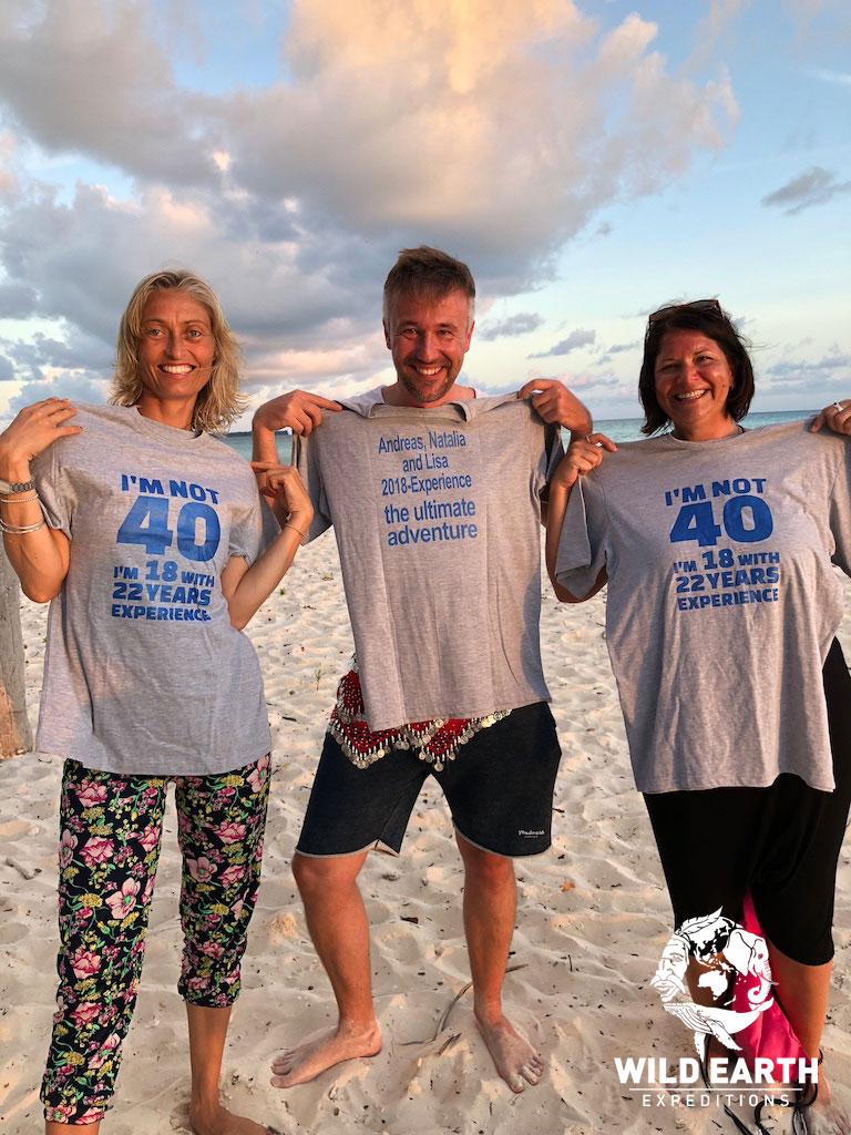 Natalia, Andreas & Lisa celebrate together - Palau - Wild Earth Expeditions