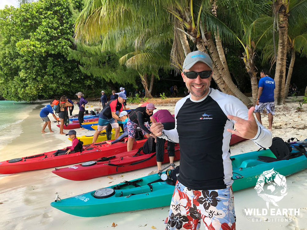 Andreas preparing to Kayak around the Rock Islands - Palau - Wild Earth Expeditions
