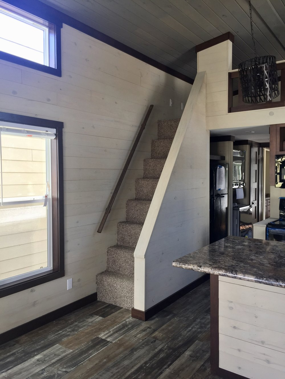 Stairs to Loft Seabreeze Tiny House
