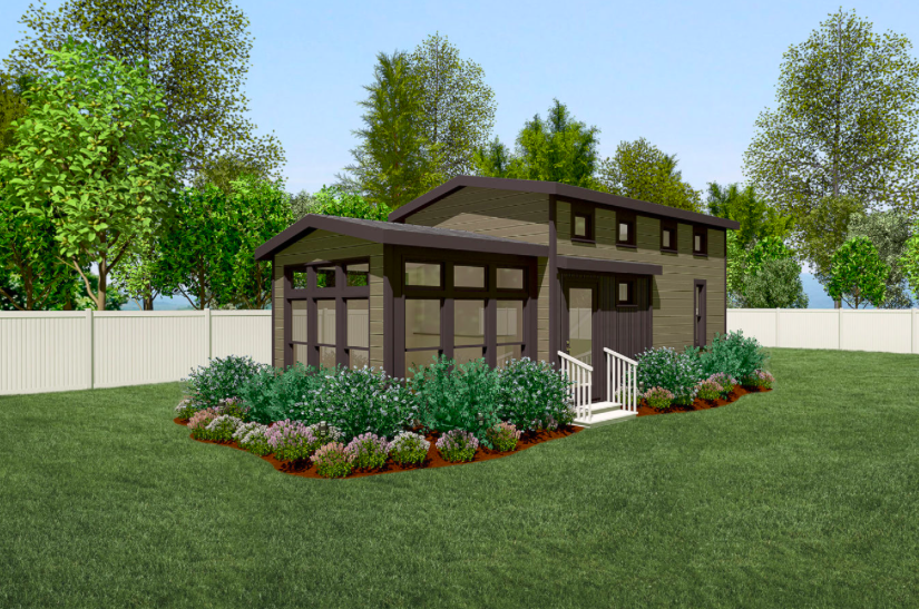 A landscaped and skirted rendering of the Sonoma model