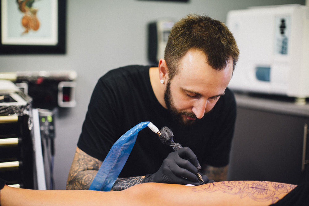 Matt -   Tattoo Artist - the king of clean lines. Loves Game of Thrones more than life - you can find him by following a trail of pasty crumbs & stencil ink.