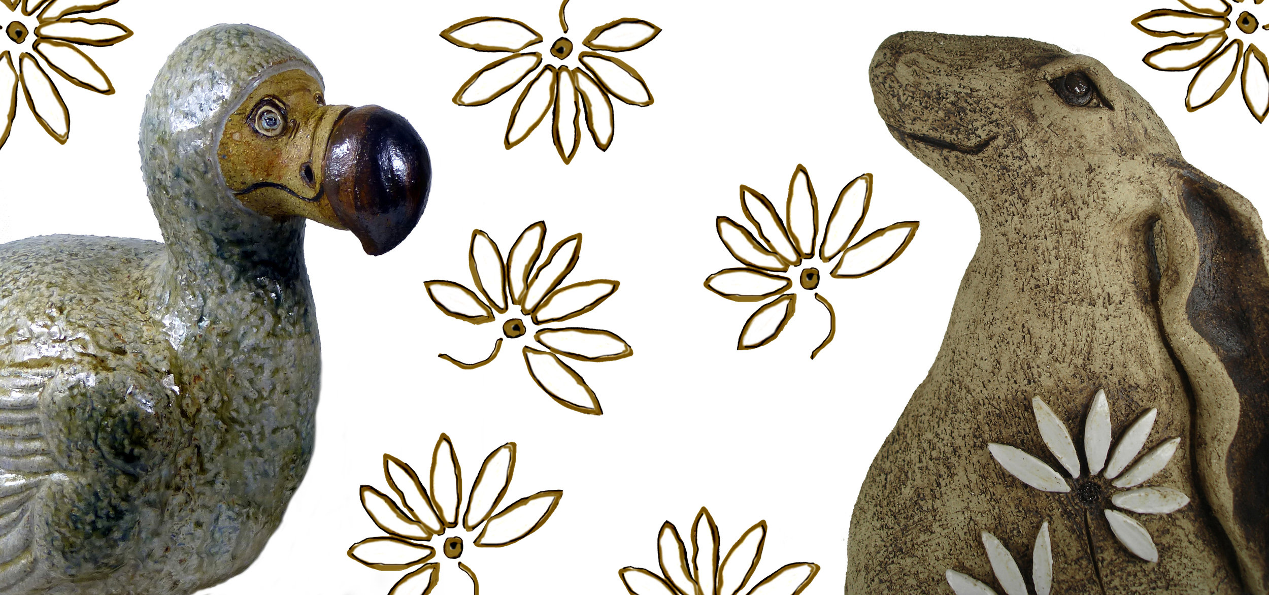 3 Dodo and Hare with Daisies 1500x3200