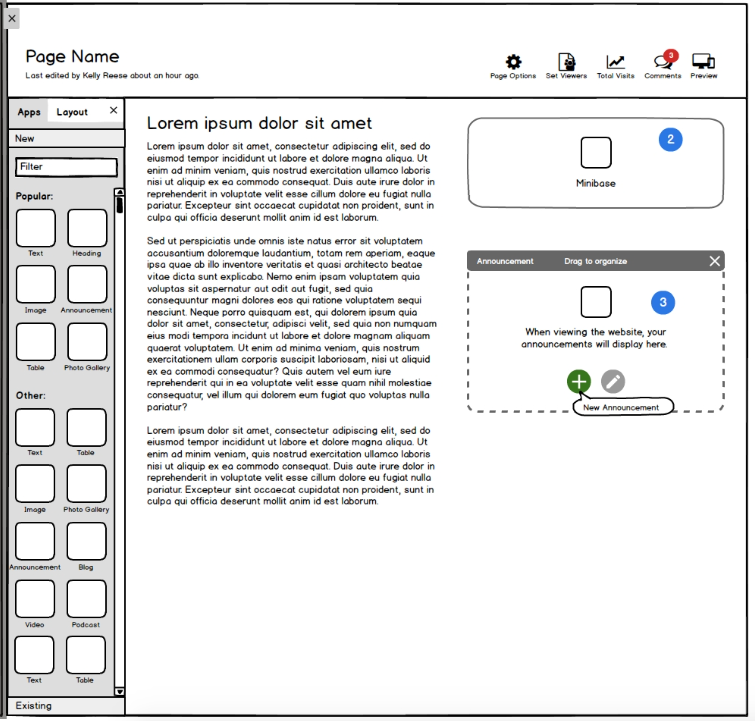 One page of the design wireframes. Other pages detailed further interactions and steps through the flow