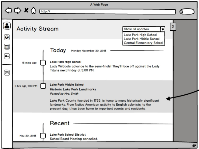 A wireframe of the activity stream