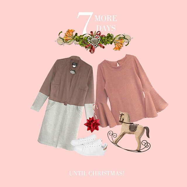 One more week! 🙌 Today's we feature the beautiful blush bell sleeve top (#20-7361) and fashion forward colour block coat (#C-5011)! • #holidays #christmas #christmascountdown #fashion #stylish #winter #pink #ootd