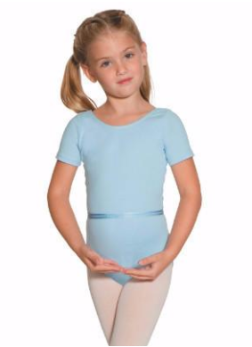 Pale blue short-sleeved leotard