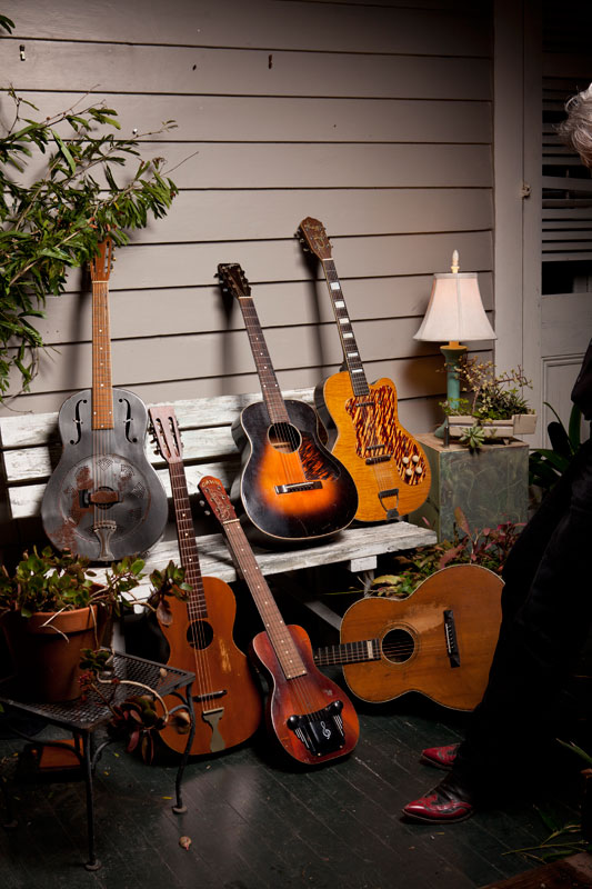 Some of Spencer's guitars.