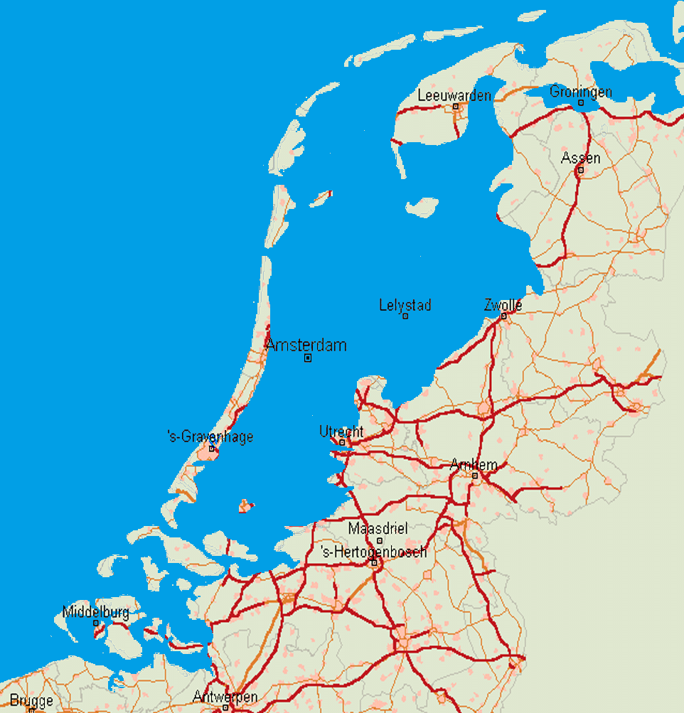 Map showing areas that would be flooded in the Netherlands without dykes. Source: Public Domain.