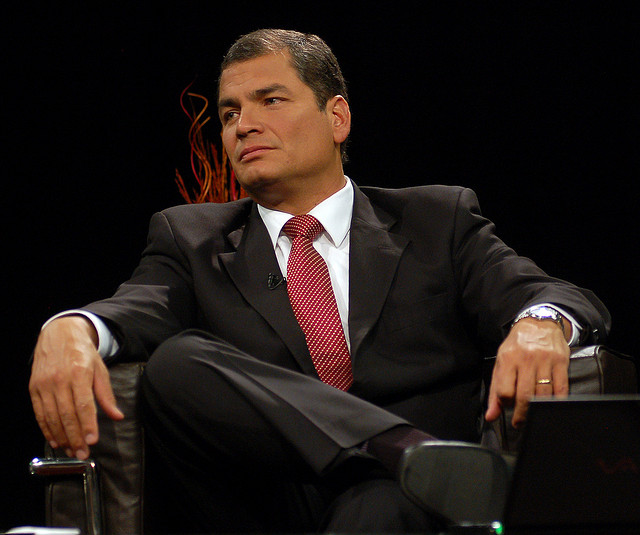 President Correa apparently doesn't find Bonil to be very funny. Source: Flickr Creative Commons via  Presidencia de la República del Ecuador .