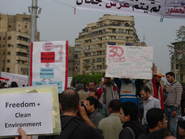 Signs at Tahrir Square during 2011 protests Photo by: Joseph Hill