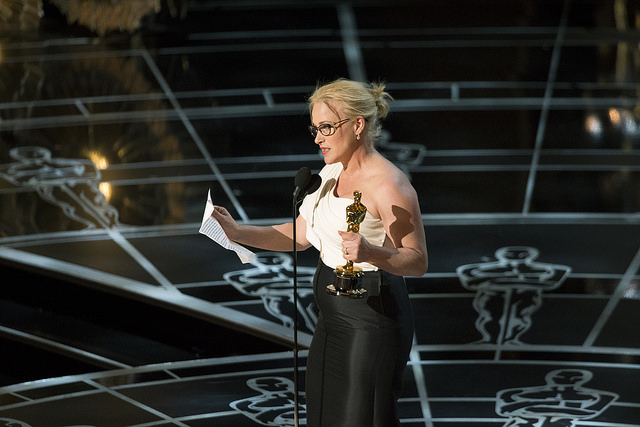 Patricia Arquette gave a controversial acceptance speech after winning the 2015 Oscar for Best Supporting Actress. Source: Flickr Creative Commons via Disney | ABC Television Group.