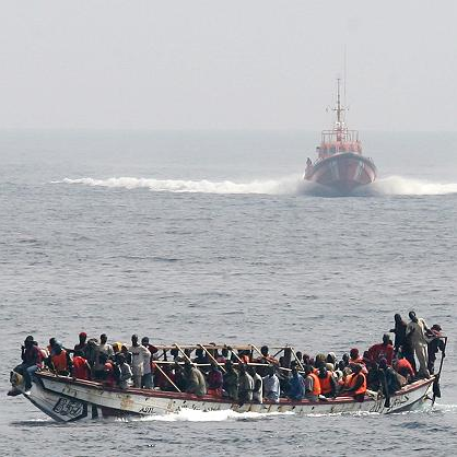 Migrants approached by Spanish Sea Rescue vessel. Source: Flickr Creative Commons via  NoBorder Network .