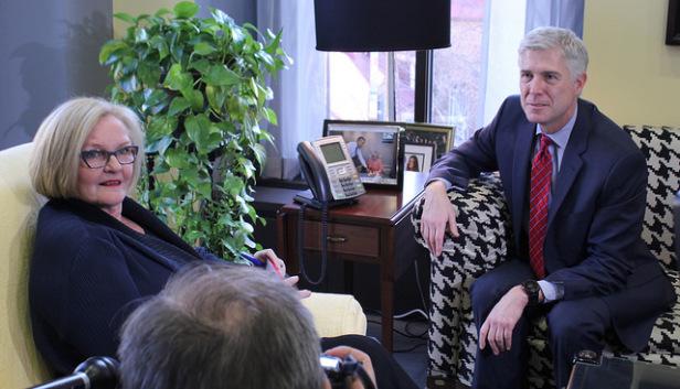 U.S. Senator Claire McCaskill and Judge Neil Gorsuch, President Donald Trump's Supreme Court nominee. Photo by: Senator Claire McCaskill