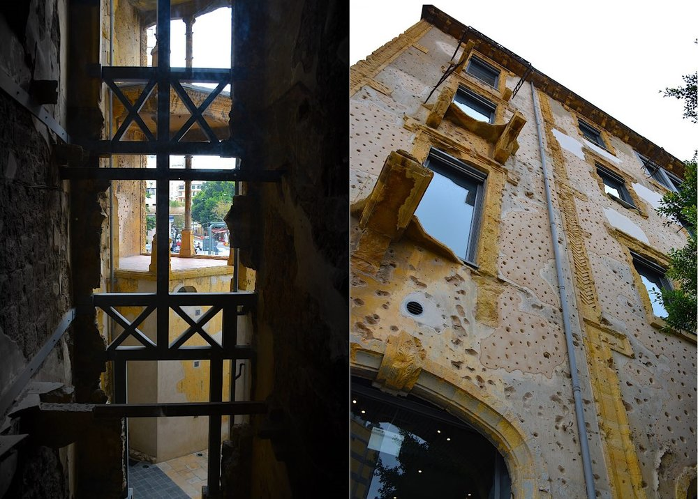 The center, found in the corner of the building, is an empty space that opens up to the sky, allowing all rooms of the building even from the back to have a view of the street. Right: The bullet holes of Beit Beirut. (Photos by Krizna Gomez)