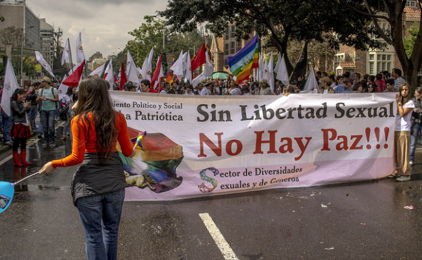 "LGBT march in the Colombian capital in 2013. The banner reads: ""Without sexual liberty there is no peace!!!""Photo by: Diego Cambiasco"