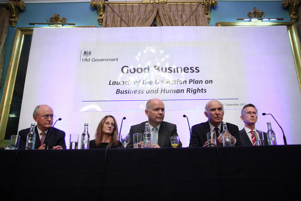 Former Foreign Secretary William Hague and Business Secretary Vince Cable with Professor John Ruggie (author of the UN Guiding Principles) and Marcela Manubens, Global VP for Social Impact, Unilever at the launch of the action plan on business and human rights in London, Photo by: Foreign and Commonwealth Office.