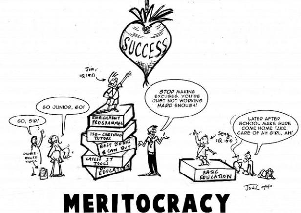 Cartoon on meritocracy. Credit: John C.