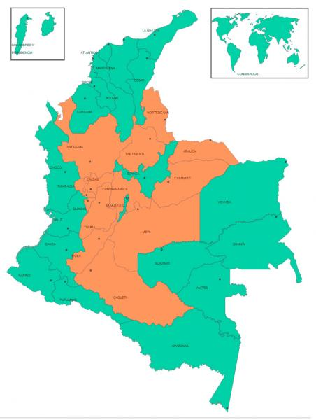 "Green: Majority ""Yes"" and Orange: Majority ""No."" Source: Caracol TV"