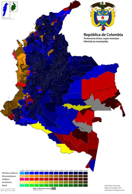Ethnic breakdown by municipality. Source: Colombian government