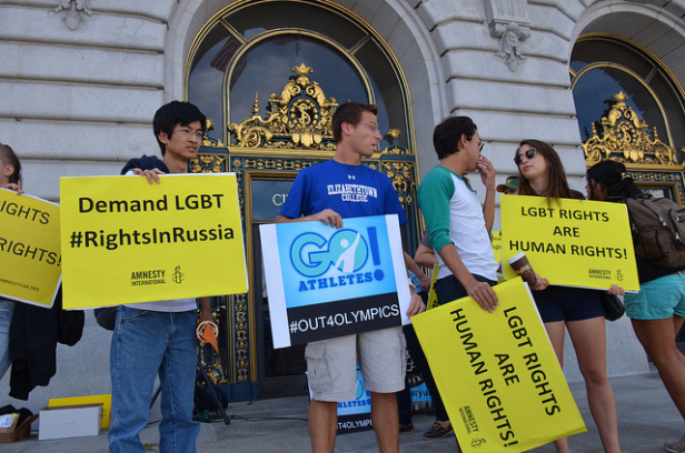 Amnesty International Olympic Torch run in San Francisco to protest Russia LGBT law. Photo by: Steve Rhodes