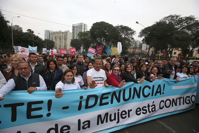 2016 protest against gender based violence in Peru organized by the Armed Forces. Photo by: Peru's Defense Ministry.