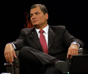 Ecuadorean President Rafael Correa has increasingly silenced dissenting voices. Source: Flickr Creative Commons via Presidencia de la República del Ecuador.