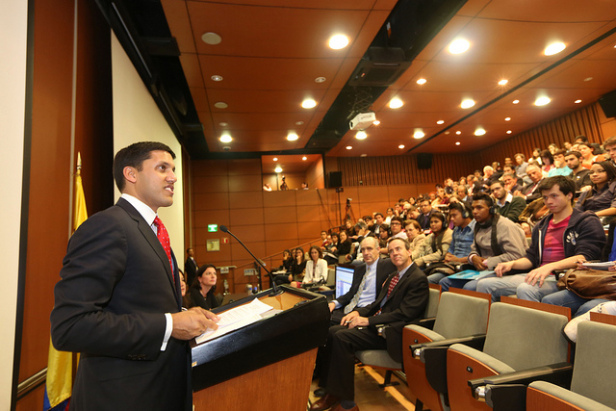 A representative of USAID addresses students at Los Andes University, one of the Colombia's most elite and racially homogenous universities. Photo by: USAID
