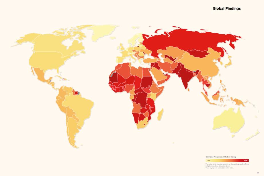 This is how global slavery was distributed in 2014, according to Global Slavery Index.