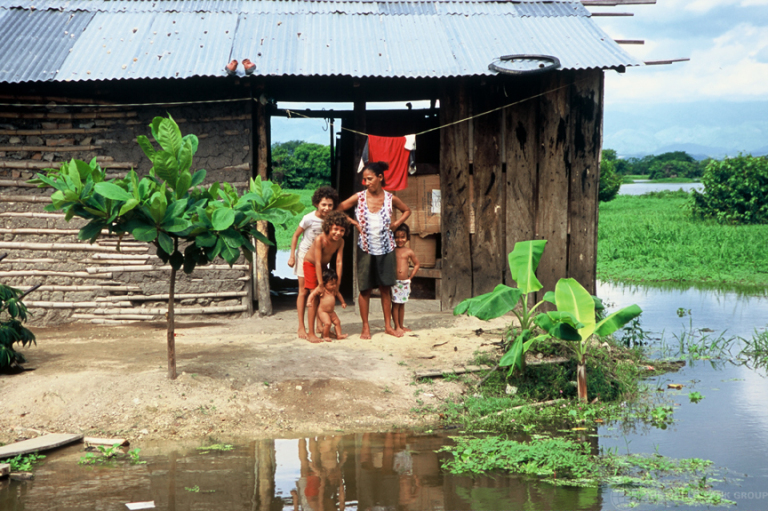 A family home in Cordoba, Colombia floods with heavy rains in the area. Photo by: World Bank Photo Collection.