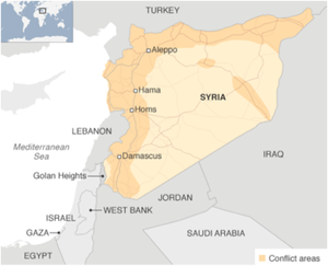 Conflict areas are shaded in orange. There are nearly 7.6 million internally displaced persons in Syria. Source: BBC News and UNHCR.