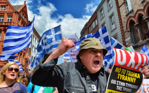 Greek protesters rally against austerity measures. Photo credit: desbyrnephotos