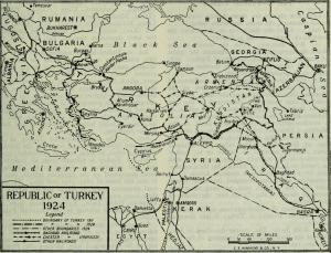 The new borders of Turkey and Greece established by the Treaty of Lausanne.
