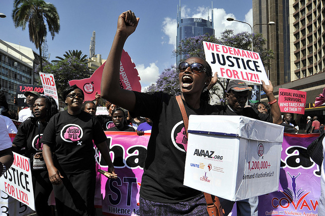 Members of civil society and gender organizations marching in the street of Nairobi on Thursday, October 31, 2013, to protest against rape case unpunished by police. Photo credit: Avaaz