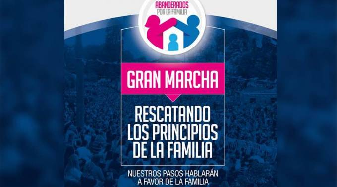 One of the posters of the Colombian march in favor of traditional family values.