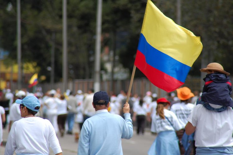 March in Colombia against the FARC guerilla group. Photo: AlCortés