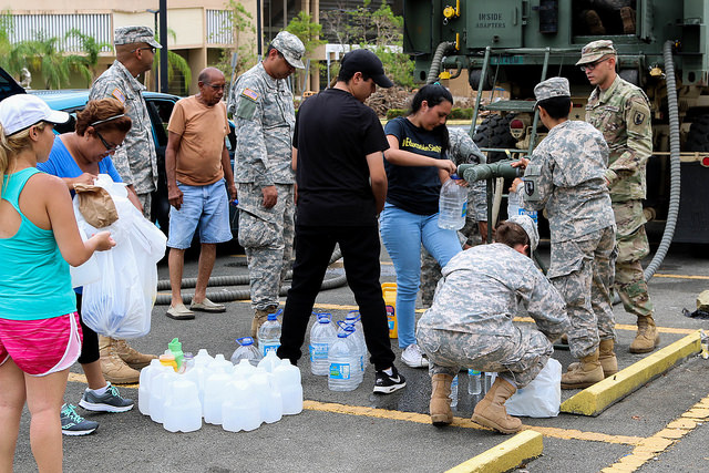 Citizens-Soldiers of the Puerto Rico National Guard supplying water in the municipalities of Aibonito, Bayamón, Caguas, Maunabo and Santa Isabel. Photo by:  The National Guard