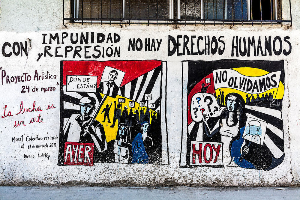 "Mural in Buenos Aires, Argentina. The writing says ""With impunity and repression, there are no human rights."" Photo by:  Alessandro Grussu"
