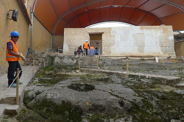 Archaeologists and reconstruction specialists working on Inca ruins. Photo by: Carsten ten Brink