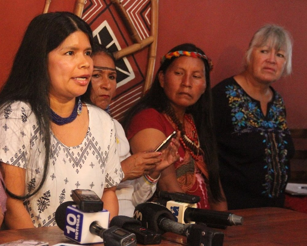 Sarayaku defender Patricia Gualinga at the press conference where she reported the threats she received on January 5, 2018. Photo credit: Patricia Gualinga.