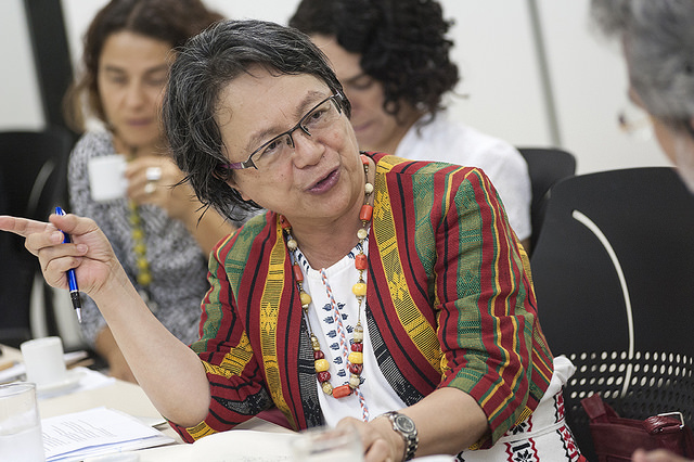 Victoria at a meeting in Brazil on indigenous peoples. Photo credit:  Sesai Ministério da Saúde