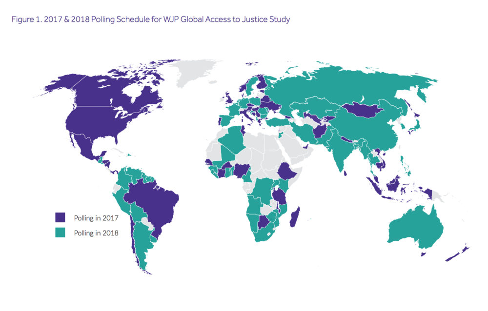 "Map from the report, ""Global Insights on Access to Justice: Findings from the World Justice Project General Population Poll in 45 Countries,"" World Justice Project."