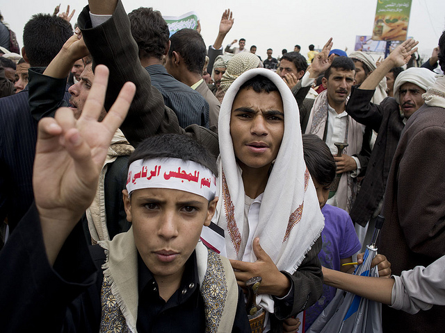 People took to the streets in Yemen in 2011 to protest of the government of then-president Ali Abdullah Saleh. Photo Source:    Al Jazeera English    (   CC BY 2.0   ), Flickr