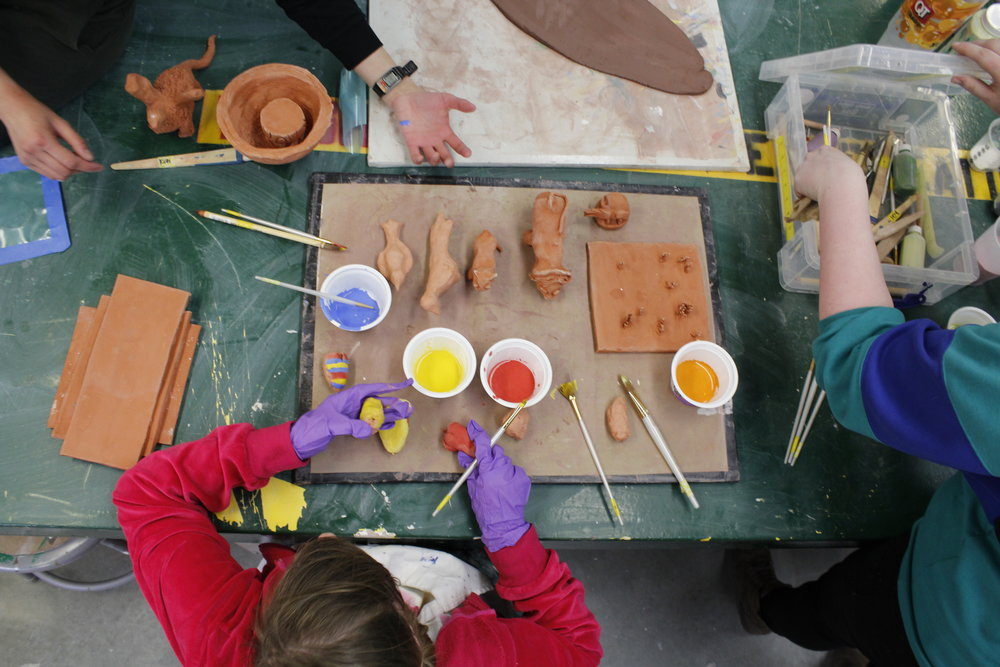 Artists are encouraged to express themselves through a variety of mediums. Imagine That! studio offers space to paint, throw pottery, make music and much more!  (visit the studio page for more detailed information)