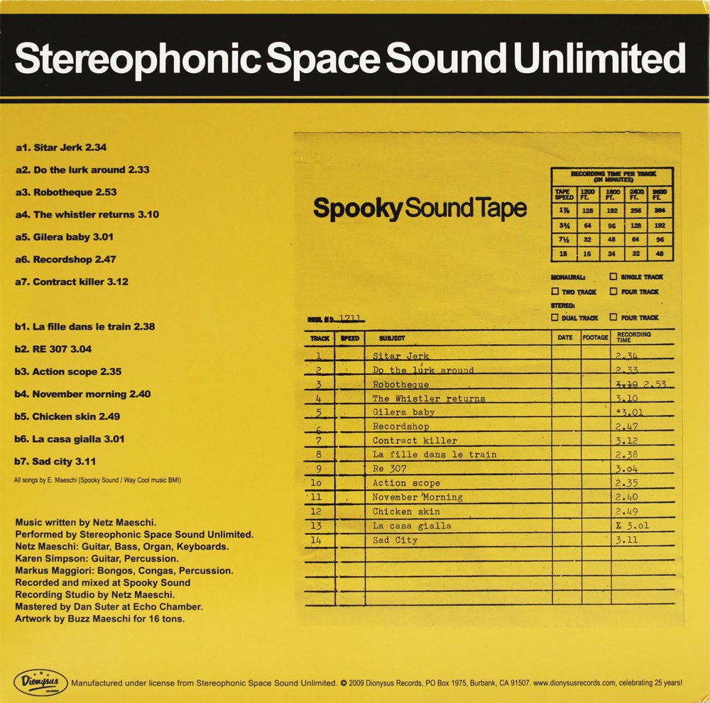 Dionysus Records LP/CD ID 1233142  Stereophonic Space Sound Unlimited  The Spooky Sound Sessions