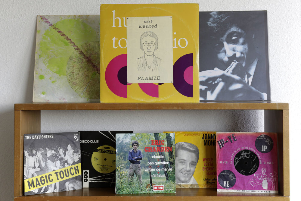 """°Franz Koglmann/Bill Dixon  """"Opium for Franz""""  Pipe Records PR 152 °Flamie  """"Not Wanted""""  Private Press, Hug °Odeon Hot Heads  """"Margie/There'll come a day""""  Private Press, Shellac °The Daylighters  """"Magic Touch""""  Elite Special F4032 °Will Fantel  """"Will Fantel und sein Rock'n Roll""""  Disco Club DC 1709 °Eric Charden  """"Claudie""""  EP Decca 460.974 °Jonny Mohr  """"Whole lotta Shokin' goin'on""""  Layola L 17-210 °Dark City Sisters  """"Segompieno""""  His master's voice 45JP 1177"""