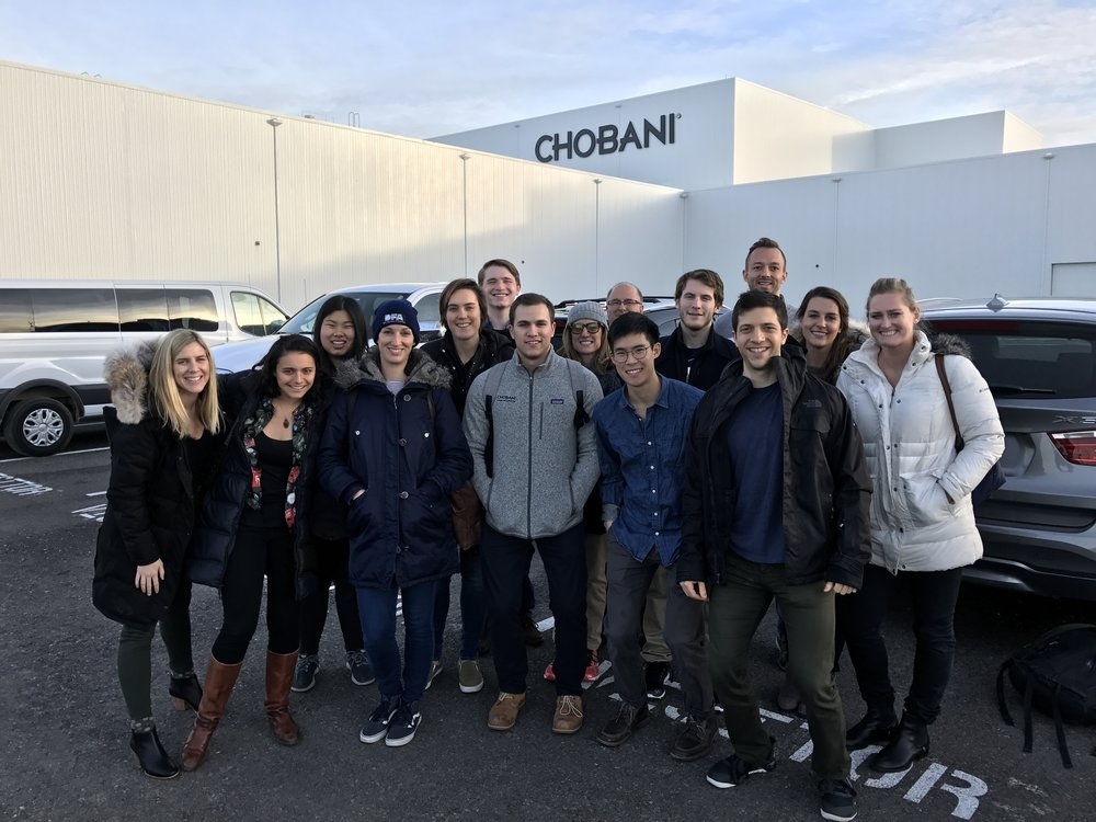 group photo in the parking lot of Chobani Yogurt factory