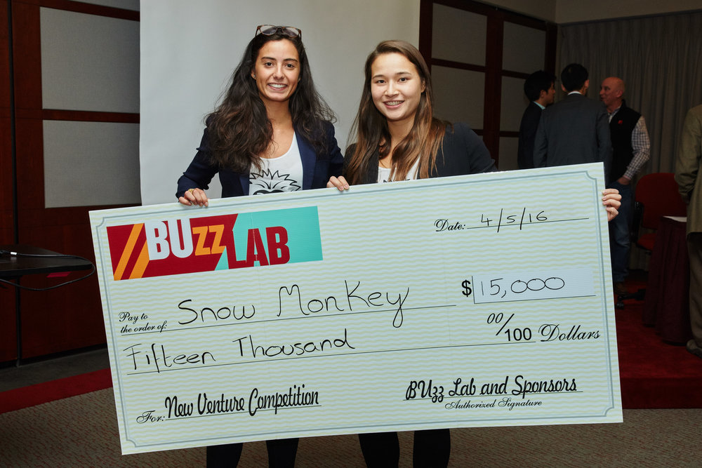 Snow Monkey team prize at the Boston University new venture competition