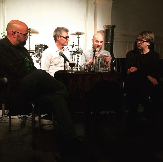 "Lets rip poetry apart alive! #derekbeaulieu #pierrealferi #jörgpiringer & Jonas Mousten at the event ""Poetry is Dead - Lets Salvage the Corpse"" #reversecph #dklit #literaturhaus #salvagethecorpse"